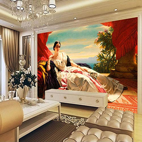 XCHBH behang zelfklevend behang wandschilderij Europees olieverfschilderij behang 3D fotobehang wandschilderij portret slaapkamer woonkamer wereld jonge slaapkamer kinderen binnen decoratie kunst 250x175 cm (BxH) 5 Streifen - selbstklebend