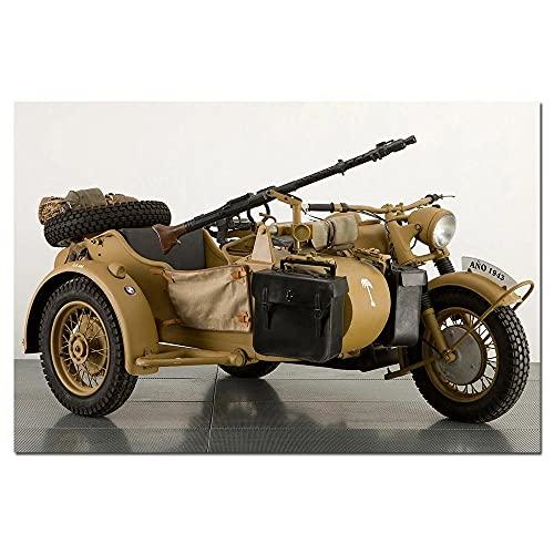 VVSUN 1941-1946 WWII Motocicleta Alemana R-75 Cartel de Arte de Pared Lienzo Pintura Cuadro de Pared para decoración de Sala de Estar 60X90cm 24x36 Pulgadas sin Marco