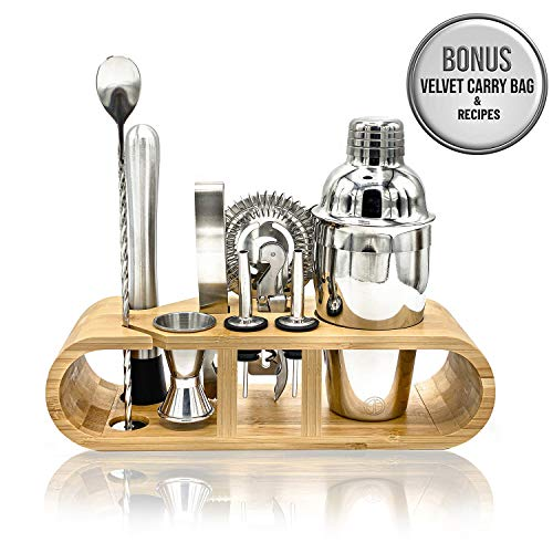 Premium Bartender Kit | 11-Piece Cocktail Shaker Set | Stainless Steel Mixing Tools | Sleek Bamboo Stand | Velvet Carry Bag | Exclusive Recipes | Doalano's Ultimate Drink Mixing Experience