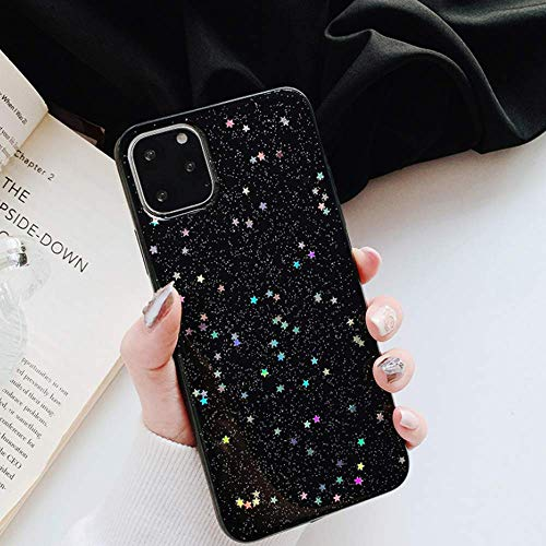 Feibili iPhone 11 Pro Stars Case Bling Glitter Space Planet Sparkle Stars Moon Cosmos Outter Space Soft Flexible TPU Silicon Case for Apple iPhone 11 Pro - (Black Stars)
