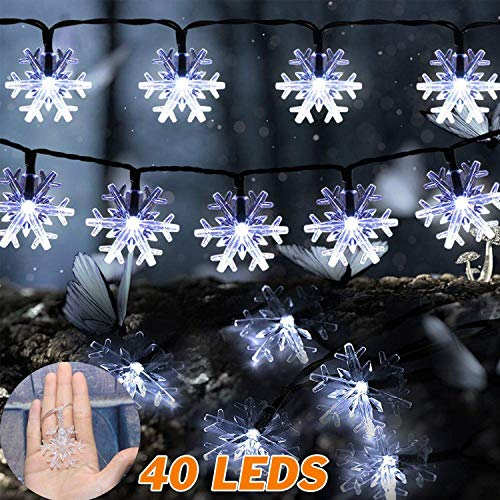 ABASK Snowflake Lights Christmas Lights String Lights 16 FT 40 Leds Battery Operated Fairy Lights for Christmas Party Wedding(White)