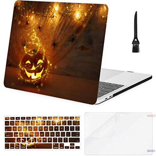 MacBook Pro 13 Inch Case Holidays Halloween Concept Image Pumpkin Spiders MacBook Air 13 Inch Case with Keyboard Cover Screen Protector Cleaning Brush