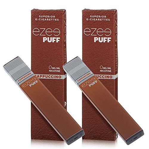 Ezee Puff Einweg E-Zigarette Cappuccino-Geschmack E-Liquid Nikotinfrei Elektronische Zigarette 280mAh Akku E-Shisha 2 Stück