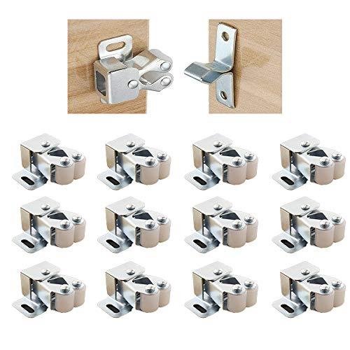 yyuezhi Edelstahl Latch Fang für Schrank Möbelschnäpper Schranktür Tür Latch Fang Möbelschnäpper mit Verstellbaren Türstopper Türschnäpper für Küche Schranktüren Schränke (12 Stück)