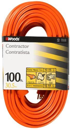 Woods 530 12/3 100-Foot Outdoor SJTW Vinyl Extension Cord (Orange)