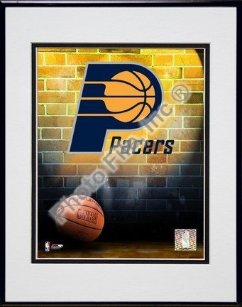 Indiana Pacers NBA Double Matted 8x10 Photograph Team Logo and Basketball