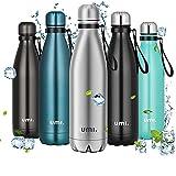 Amazon Brand - Umi Botella Agua Acero Inoxidable, Termo 750ml, Sin BPA, Islamiento de Vacío de Doble Pared, Botellas Frío/Caliente, Reutilizable para Niños, Colegio, Sport, Gimnasio, Bicicleta