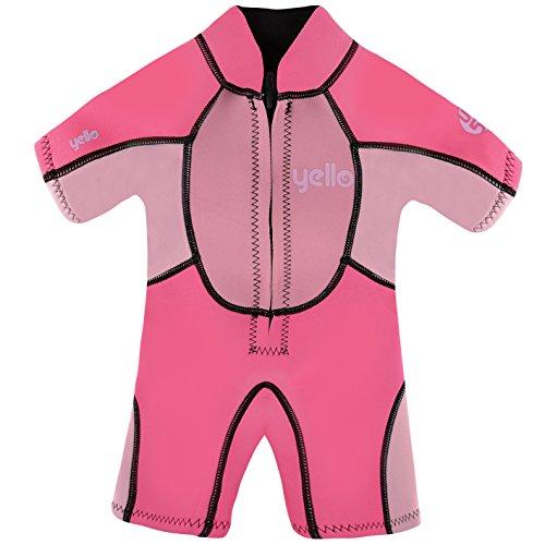 Yello Sandbar Infant Shorty UPF 50 Plus Traje húmedo, niña, Rosa, 3 años