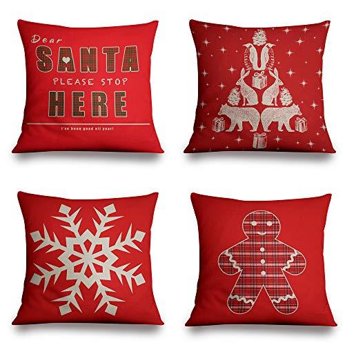 Jennifer Davidson Set of 4 WHITE CHRISTMAS Cushion Covers 3D Digital Print Decorative Festive Linen Suitable for Couch, Chair, Floor, Car, Bed (18' X 18', 45 X 45 Cm)