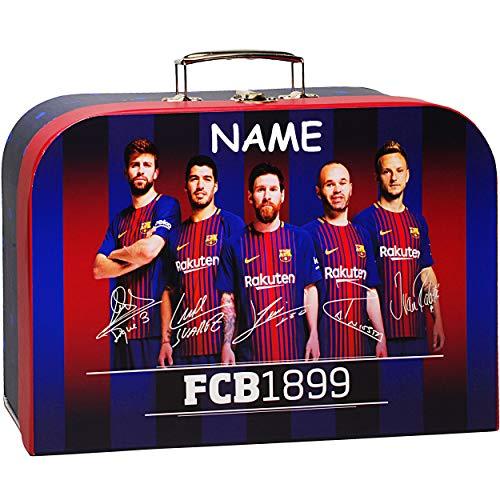 alles-meine.de GmbH 1 Stück _ Koffer / Kinderkoffer - GROß - Fußball - FC Barcelona - FCB - incl. Name - 34 cm - Pappkoffer - Puppenkoffer - Kinder - Pappe Karton - Fussball / Fu..