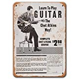 Agedsign Play Guitar Like Chet Atkins Poster, Vintage Metal Wall Art 1970 Play Guitar Like Chet Atkins Tin Sign for Man Cave Home Bar Coffee Decor 8x12 Inches