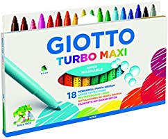 Rotuladores Giotto F076300 Turbo Maxi Estuche con Asa 18 Uds, Colores Surtidos