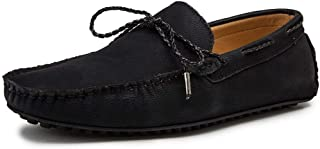 CAIFENG Conduite de Mocassins pour Hommes Deck Moccsins à Lacets à Lacets Decor de Cravate Stiching Faux Cuir Chaussures d...