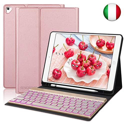 SENGBIRCH Custodia Tastiera per iPad 9.7, Custodia per Tastiera Rimovibile con Retroilluminazione a 7 Colori Compatibile con iPad Air-Air 2-iPad PRO 9.7-iPad 9.7 2017-IPad 9.7 2018 (Oro Rosa-1)