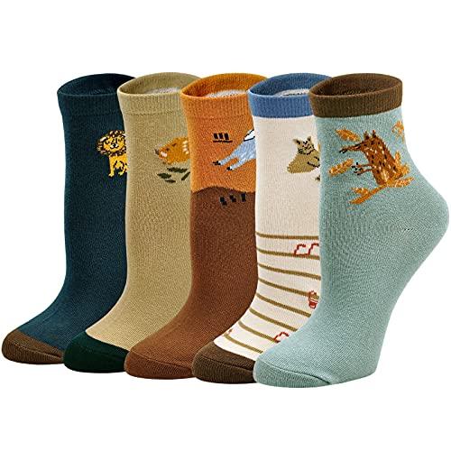 LOFIR Calcetines Divertidos de Algodón para Niños Calcetines Animales con Dibujos, Calcetines Deportivos para Chicos, Talla 31-33, 5 pares