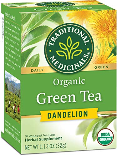 Traditional Medicinals Organic Green Tea Dandelion Tea, 16 Tea Bags (Pack of 6)