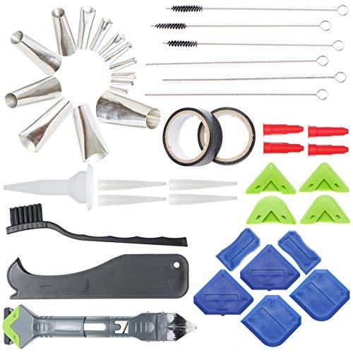 Caulking tool Kit - 44 Pc Stainless Steel Caulking Gun Tips, Caulk Remover Applicator Finishing Tool, Scrapers & Many Accessories -Reusable Caulk Tip Accessories Great for Kitchen,Bathroom or Window