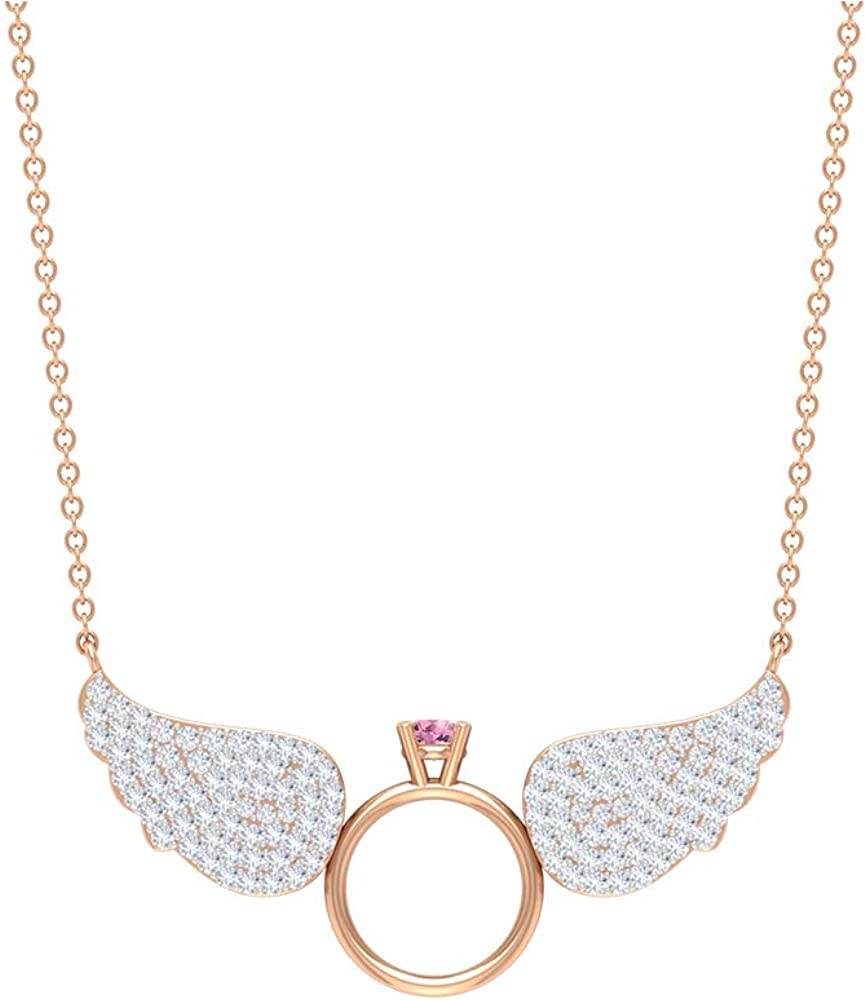 Japan's largest assortment 3 MM Chicago Mall Tourmaline Angle Pendant Ang HI-SI Necklace Wings Diamond