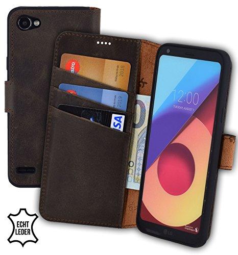 Suncase Book-Style kompatibel für LG Q6 Hülle (Slim-Fit) Leder Tasche Handytasche Schutzhülle Hülle (mit Standfunktion & Kartenfach - Bruchfester Innenschale) in antik braun
