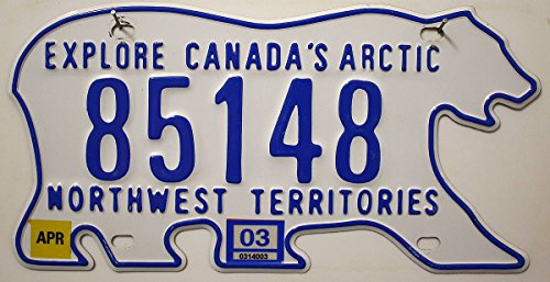 KANADA Nummernschild , Canada License Plate , Northwest Territories , Autoschild in Eisbär Form , Metall-Schild