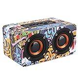 Bluetooth-Lautsprecher, Bluetooth-Lautsprecher aus Holz mit zwei Lautsprechern und Subwoofer-Stereo-Sound, 10-stündige Wiedergabe, verlustfreie HiFi-Musik, TF-Karte, Graffiti, Schwarz(Graffiti)