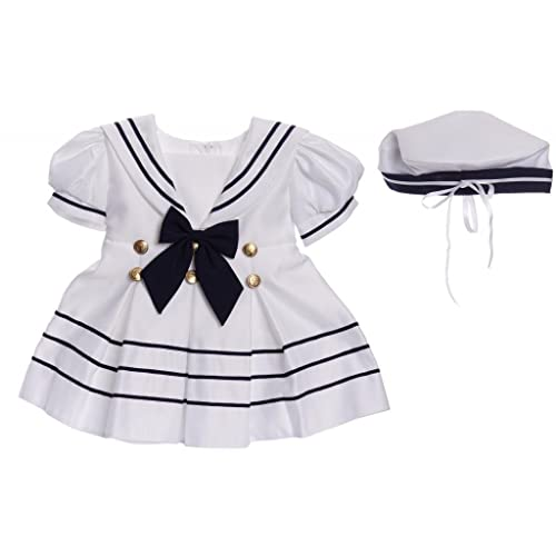 efc93739dd184 Caldore USA Infant Toddler Girls Classic White Sailor Nautical Dress with  Gold Buttons and Cap