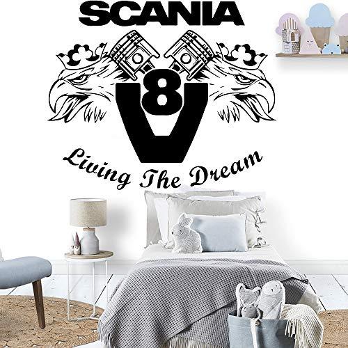 Wfnbzd Fahrzeug Auto Wandaufkleber Scania Living Dream Vinyl Kinderzimmer Wandtattoo Home Decor Teen Schlafzimmer 68x57cm