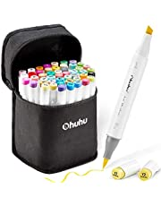 Ohuhu 48 Colors Alcohol Brush Markers, Double Tipped ( Brush & Chisel ) Sketch Markers For Kids, Artist Art Markers, Adult Coloring And Illustration, Comes W/ 1 Colorless Alcohol Marker Blender