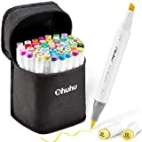 Ohuhu Alcohol Brush Markers, Double Tipped Brush & Chisel Sketch Markers for Artist, Coloring Art Markers for Kids, Adults Coloring Book, 48 Unique Colors + 1 Alcohol Marker Blender + Marker Case