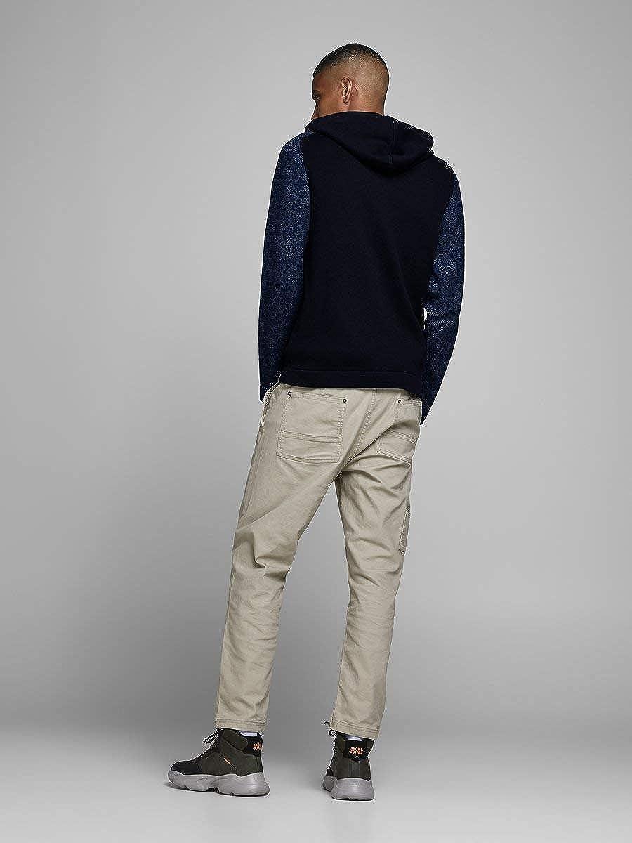 JACK /& JONES Male Strickjacke Kapuzen Rei/ßverschluss