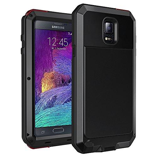 seacosmo Samsung Galaxy Note 4 Hülle, Aluminium Doppelte Schutz Note 4 Case Outdoor Handyhülle Stoßfest Ganzkörper Schutzhülle mit eingebauter Displayschutz für Galaxy Note 4, Schwarz