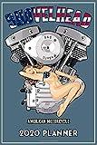 Shovelhead American Motorcycle 2020 Planner: Blue Cover, Old School Harley Davidson USA Flag Pinup Bikini Model VTwin Rockabilly Biker Chopper Gear.   155 Page  Daily Weekly Planner  Journal Guide