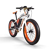 RICH BIT Bicicleta eléctrica para Hombres Adultos Big Tire Ebike 26'4.0, Potente Motor de 1000W, Snowbike con batería reemplazable 48V * 17Ah (Naranja Blanca)