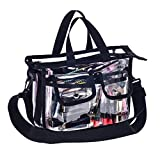 Medium Clear PVC Makeup Artist Set Bag Transparent Cosmetic Storage Bag Travel Make up Kits Organizer MUA Bag with Removable Shoulder Strap