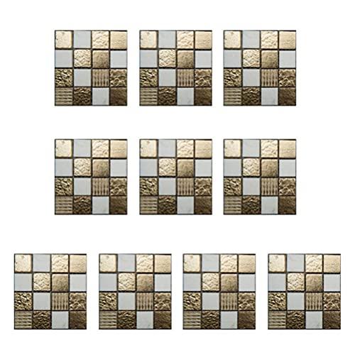JSSEVN Pegatinas para azulejos de mosaico, 10 unidades, resistentes al agua, resistentes al calor, de PVC, autoadhesivas, cuadradas, para cocina, 4 x 4 pulgadas