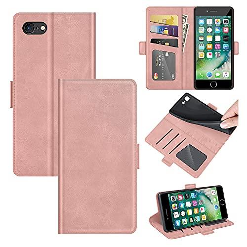 AKC Funda iPhone 7/8/SE(2020) Carcasa Caja Case con Flip Folio Funda Cuero Premium Cover Libro Cartera Magnético Caso Tarjetero y Suporte-Oro Rosa