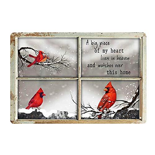Vintage Tin Sign Cardinal Bird