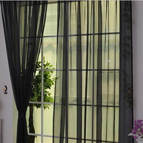 fengzong Modernes Design Einfarbige Vorhangpaneelvorhänge für die Wohnküche Wohnzimmer Schlafzimmer Tüllvorhang für die Fensterdekoration (schwarz)