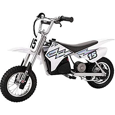 Razor MX400 Dirt Rocket Kids Ride On 24V Electric Toy Motocross Motorcycle Dirt Bike, Speeds up to 14 MPH, White