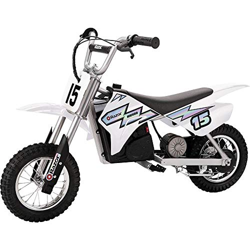 Razor MX400 Kid & Teen Dirt Rocket 24V Ride On High-Torque Electric Motocross Motorcycle Toy Dirt Bikes, Speeds up to 14 MPH, 1 White & 1 Green