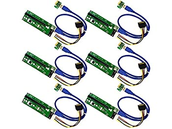 MintCell 6-Pack PCI-E 16x to 1x MOLEX Powered Riser Adapter Card w/ 60cm USB 3.0 Extension Cable & MOLEX to SATA GPU Riser Adapter - Ethereum Mining ETH