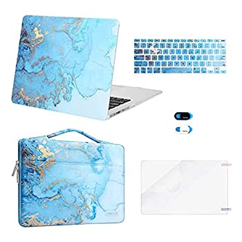 MOSISO Compatible with MacBook Air 13 inch Case  A1369 A1466 Older Version 2010-2017 Release  Plastic Watercolor Marble Hard Shell&Sleeve Bag&Keyboard Cover&Webcam Cover&Screen Protector Turquoise