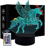 Lámpara de ilusión óptica 3D para niños, diseño de unicornio, decoración del hogar, regalos para el hogar, oficina, decoración de la lámpara