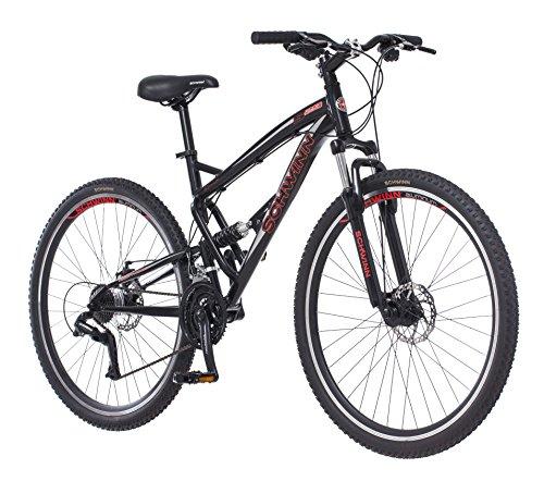 Schwinn S29 Dual-Suspension Mountain Bike, Featuring 18-Inch/Medium Aluminum Frame, 29-Inch Wheels with Mechanical Disc Brakes, 21-Speed Shimano Drivetrain, Glossy Black
