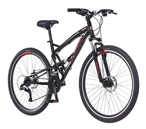 Schwinn S29 Dual-Suspension Mountain Bike with 29-Inch Wheels in Gloss Black/Red, Featuring 18-Inch/Medium Aluminum Frame, Mechanical Disc Brakes, and 21-Speed Shimano Drivetrain