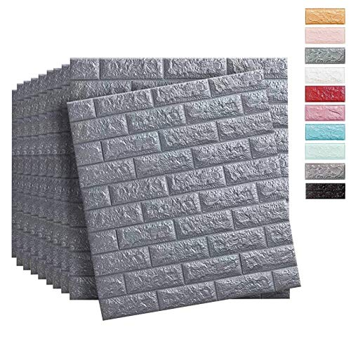 Soontrans Wallpaper 3D Brick Wallpanels Self Adhesive 77 x 70 cm (10pcs Grey Cover 5.39m²)