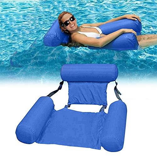 Uniguardian Aufblasbare Wasser Hängematte, Klappbarer Pool Float Lounge Chair Sitz Mit Rückenlehne Schwimmstuhl Pool Float Lounge Wasserstuhl Wasser Hängematte 4-in-1 für Erwachsene und Kinder