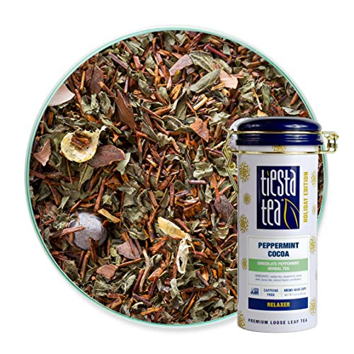 Tiesta Tea | Peppermint Cocoa, Loose Leaf Peppermint Rooibos Tea | All Natural, Caffeine Free, Limited Edition Holiday Tea, Relax, Stress Relief | 3oz Tea Tin - 50 Cups | Peppermint Rooibos Tea