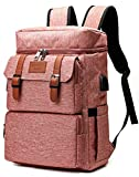 Vintage Backpack for Men Women Laptop Backpack Bookbags College Backpack Pink