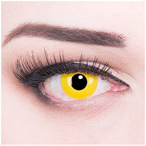 MeralenS Farbige Kontaktlinsen Yellow Gelb mit Stärke - Monatslinsen - weich - 2er Pack + Kontaktlinsenbehälter - perfekt zu Halloween Karneval Fasching oder Fasnacht -3.50